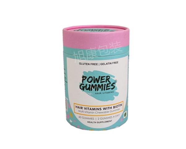 圆筒彩印纸管特种纸出口品质保健品 食品 胶囊 牛轧糖 糖果圆筒盒